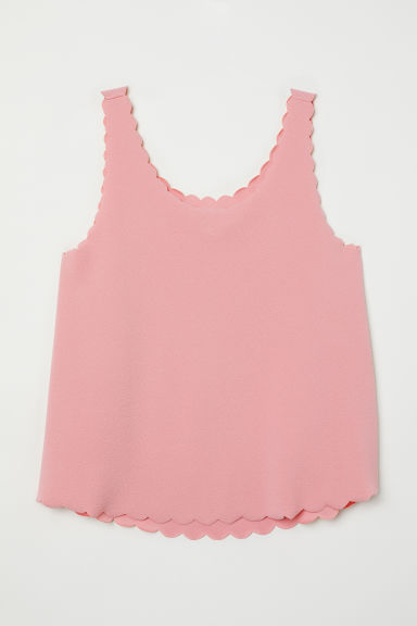 Scallop-edged vest top - Old rose -  | H&M