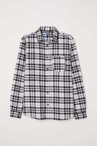 Checked flannel shirt - Black/White - Men | H&M