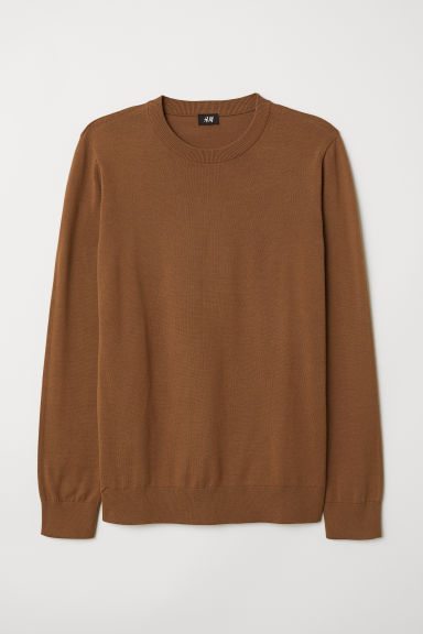 Fine-knit jumper - Light brown - Men | H&M