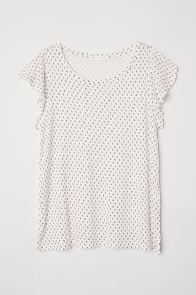 Flounce-sleeved jersey top - White/Leaves - Ladies | H&M CN