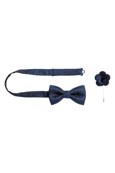 Bow tie and lapel pin - Dark blue/Patterned -  | H&M IE