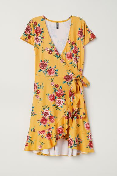 Short wrap dress - Orange/Floral - Ladies | H&M