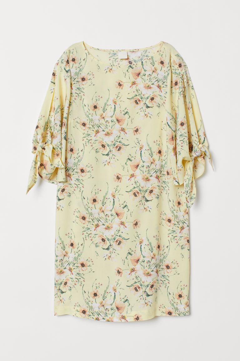 Dress with Tie Sleeves - Light yellow/floral - Ladies | H&M CA