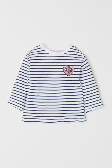 Long-sleeved jersey top - White/Striped - Kids | H&M CN