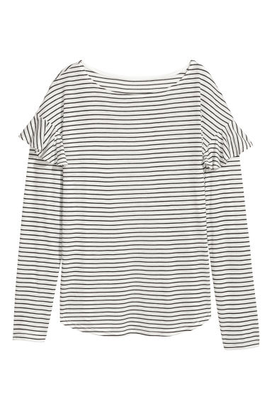 Long-sleeved flounced top - Natural white/Black striped - Ladies | H&M