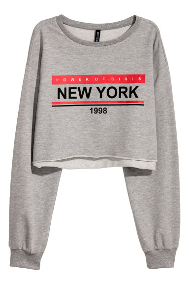 Cropped sweatshirt - Light grey/New York -  | H&M