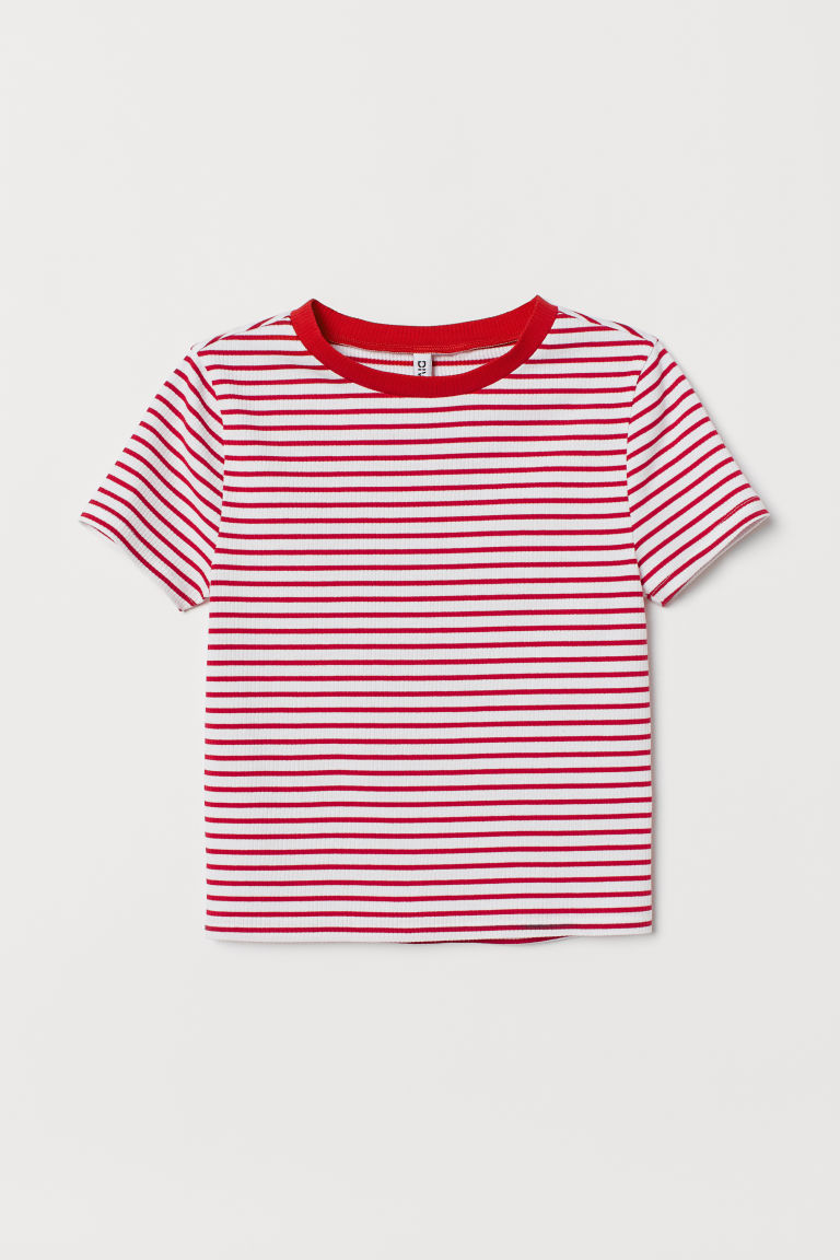 Top a costine - Bianco/rosso righe -  | H&M IT