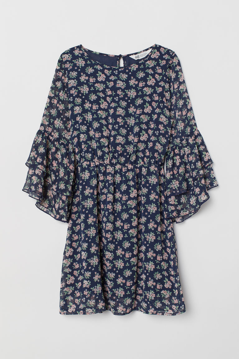 Flounce-sleeved dress - Dark blue/Floral - Kids | H&M