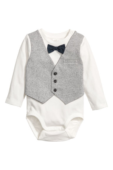 Bodysuit with a waistcoat - White/Light grey - Kids | H&M