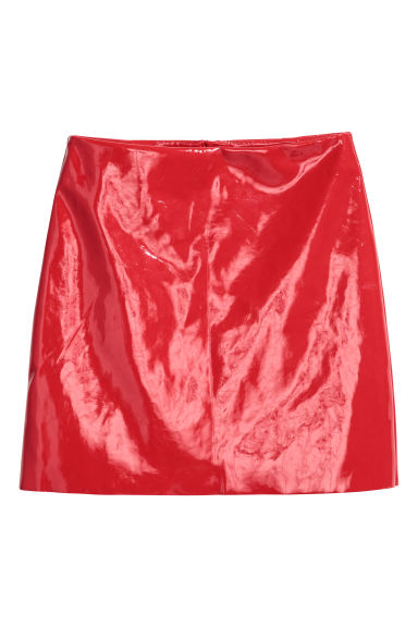 Patent skirt - Bright red - Ladies | H&M