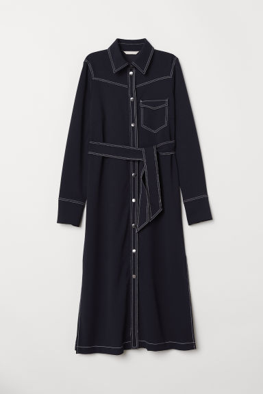 Shirt dress with a tie belt - Dark blue - Ladies | H&M