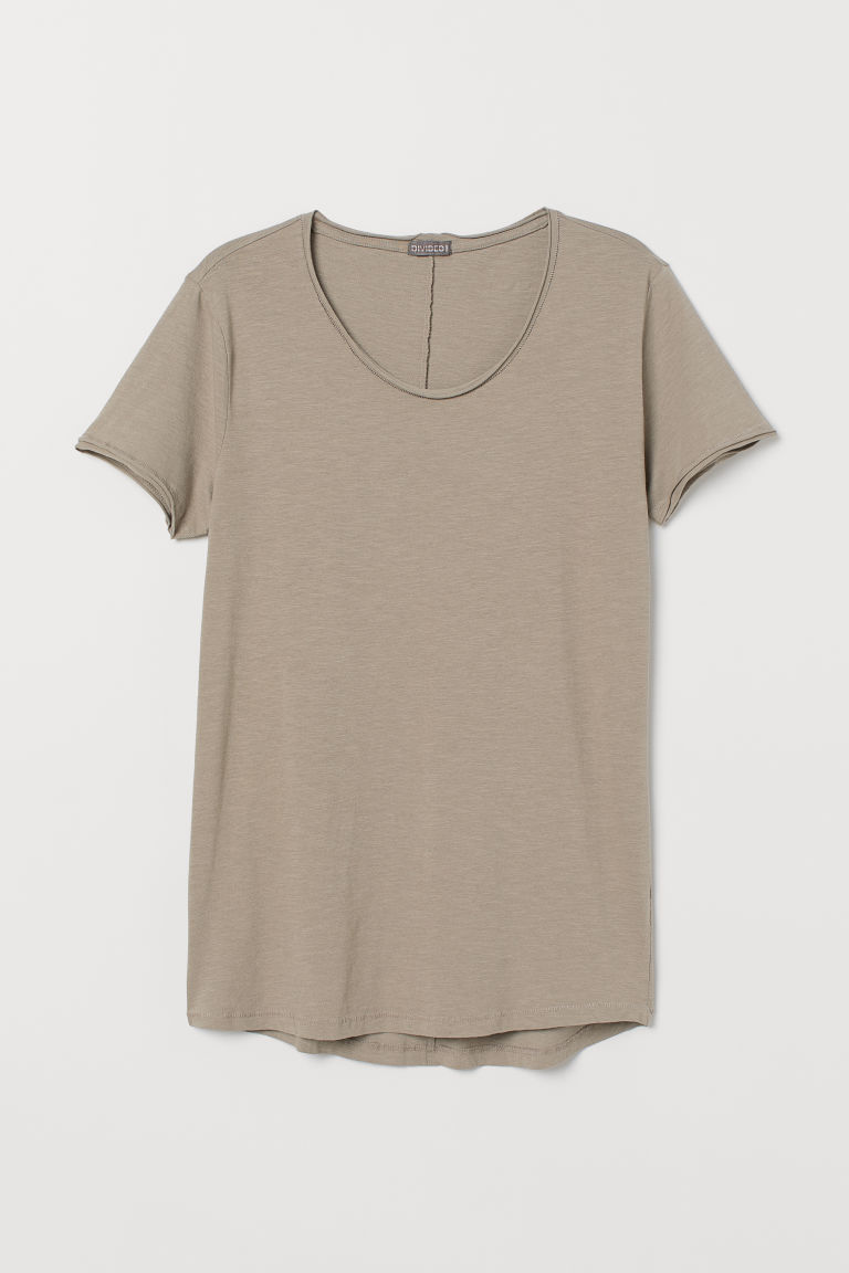 Raw-edge T-shirt - Mole - Men | H&M CN