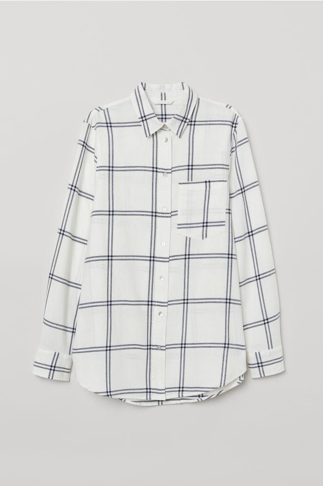 da9cc361 Checked Shirt - White/checked - Ladies | H&M ...