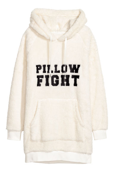 Hooded fleece top - White/Spotted -  | H&M IE