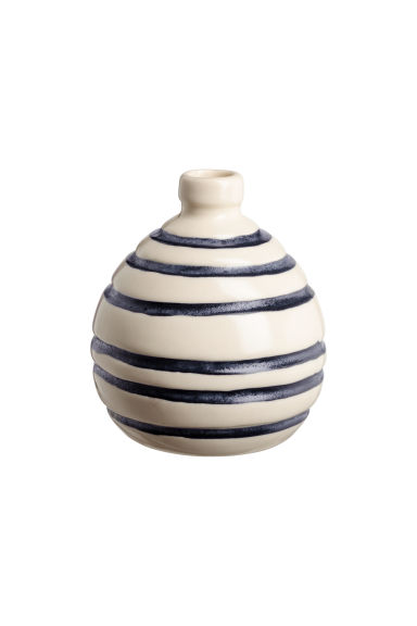Mini vase en grès - Blanc/bleu/rayé - Home All | H&M FR