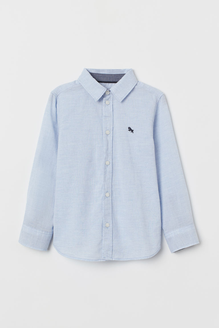 Cotton shirt - Light blue marl - Kids | H&M CN