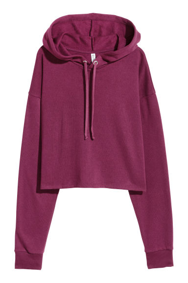 Cropped hooded top - Dark purple -  | H&M CN