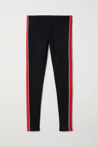 Leggings with side stripes - Black/Red -  | H&M CN