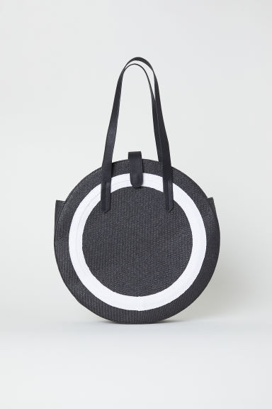 Round straw bag - Black -  | H&M CN