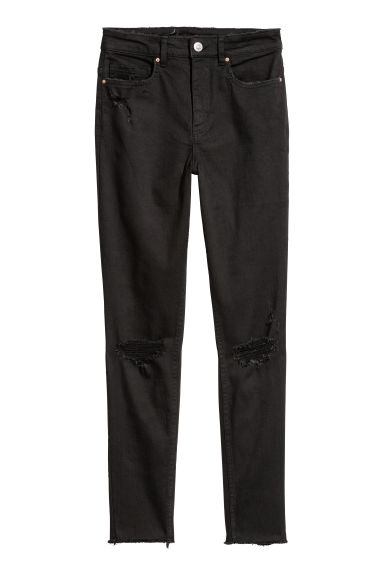 Slim High Trashed Jeans - Preto/Trashed -  | H&M PT