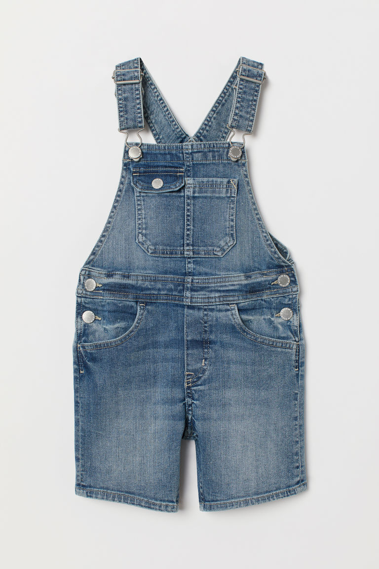 Denim Overall Shorts - Denim blue/washed - Kids | H&M US