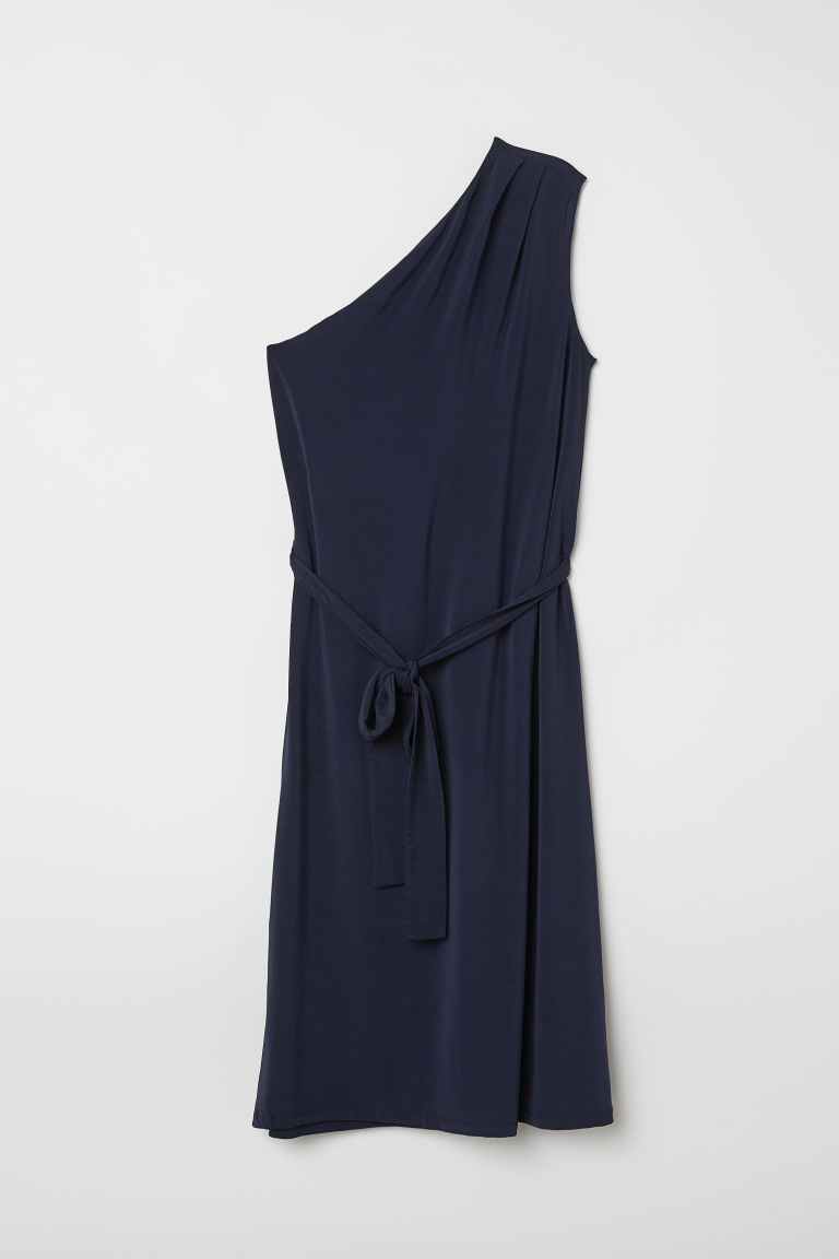 One-shoulder dress - Dark blue - Ladies | H&M CN