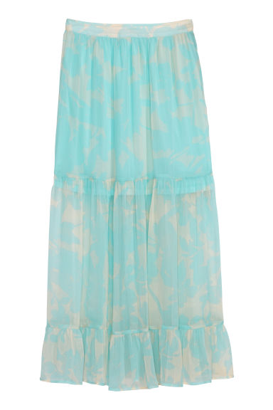 Calf-length skirt - Light turquoise/Patterned - Ladies | H&M