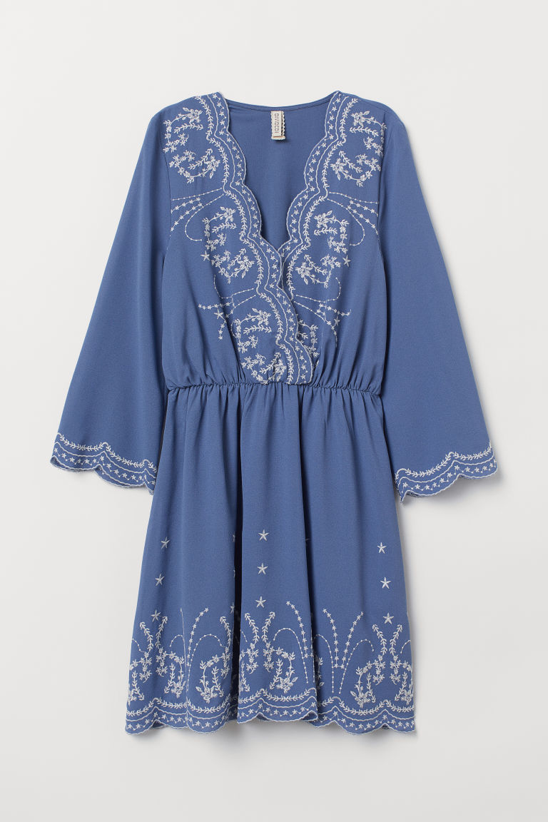 Dress with embroidery - Blue -  | H&M