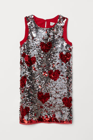 Sequined dress - Red/Silver-coloured - Kids | H&M