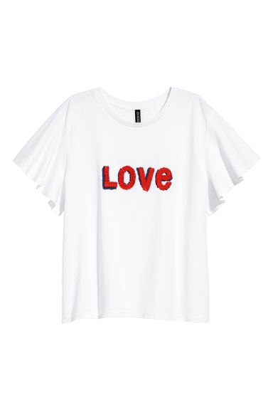Appliquéd T-shirt - White/Love - Ladies | H&M CN