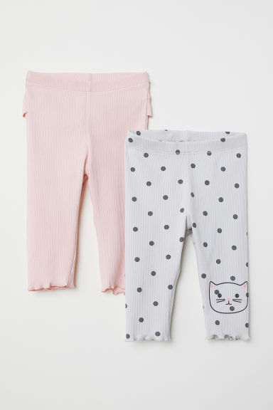 2-pack ribbed leggings - Light pink/Light grey - Kids | H&M