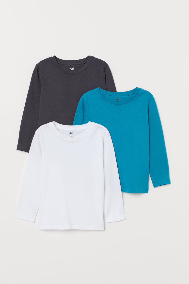 3-pack jersey tops - Turquoise - Kids | H&M GB