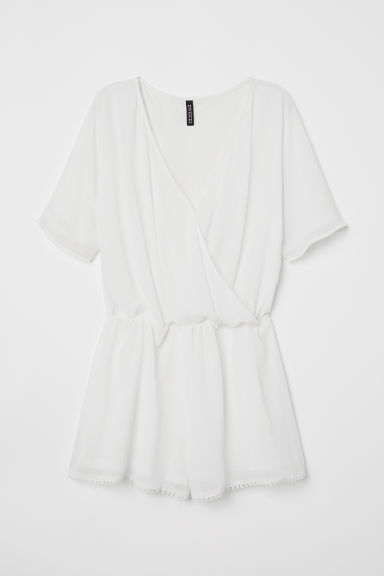 Playsuit met V-hals - Wit - DAMES | H&M BE