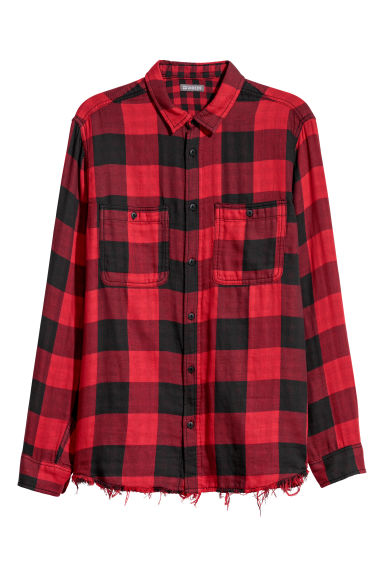 Checked flannel shirt - Red/Black checked - Men | H&M IE