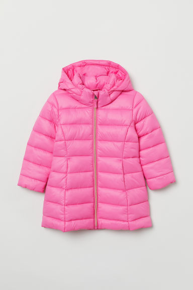 Padded hooded jacket - Neon pink - Kids | H&M