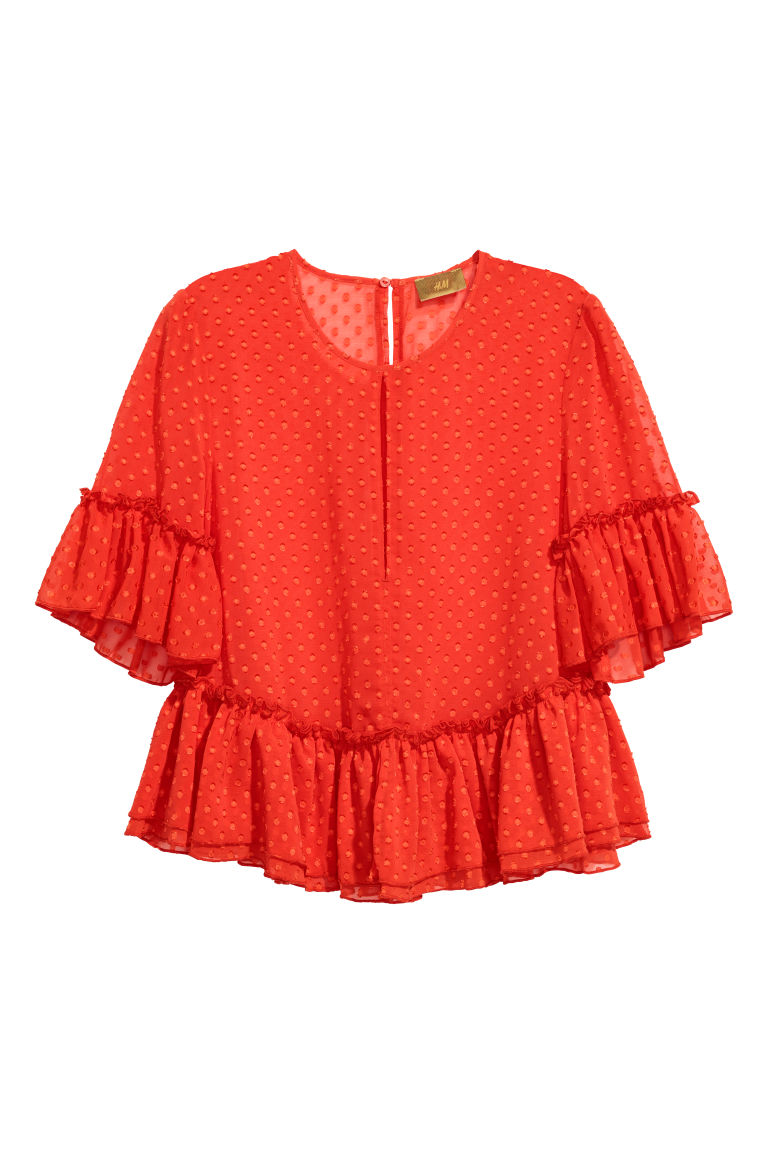 Blouse with Flounces - Red - Ladies | H&M US