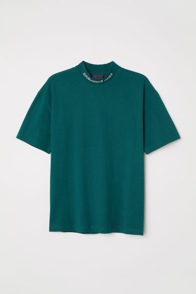 T-shirt with a stand-up collar - Dark green -  | H&M