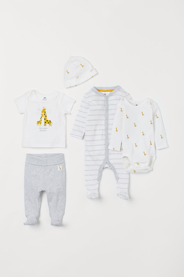 5-piece jersey set - White/Giraffes - Kids | H&M