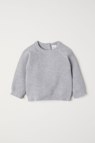Textured-knit jumper - Light grey marl - Kids | H&M