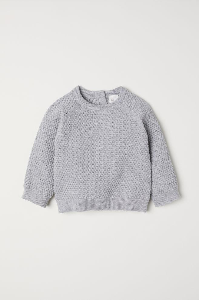 6e0818218 Textured-knit Sweater - Light gray melange - Kids
