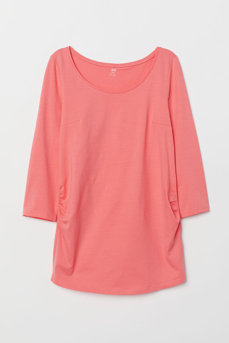 MAMA Cotton jersey top - Coral - Ladies | H&M CN