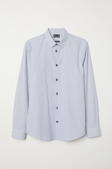 Cotton shirt Slim Fit - White/Dark blue striped - Men | H&M CN