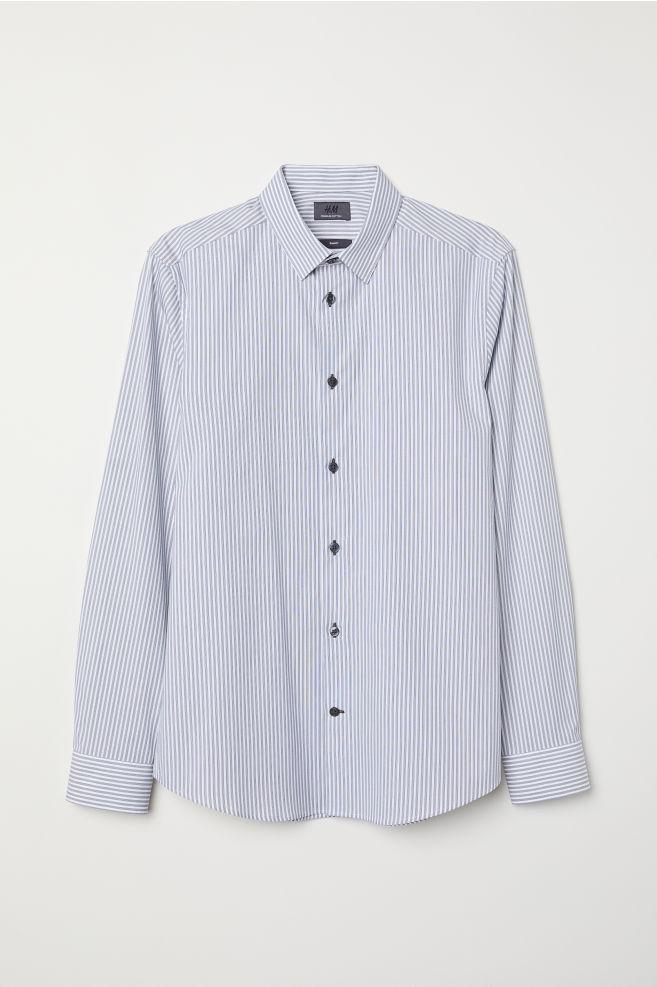 898c374484 Slim Fit Cotton Shirt - White/dark blue striped - Men | H&M ...