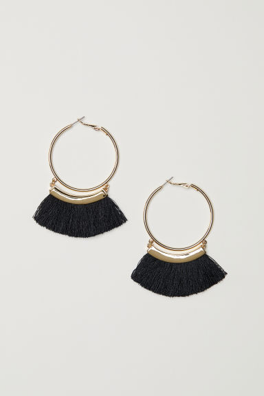 Tasselled earrings - Gold-coloured/Black - Ladies | H&M