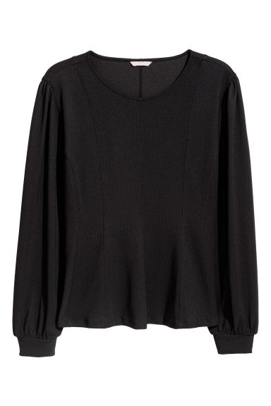H&M+ Balloon-sleeved top - Black - Ladies | H&M GB