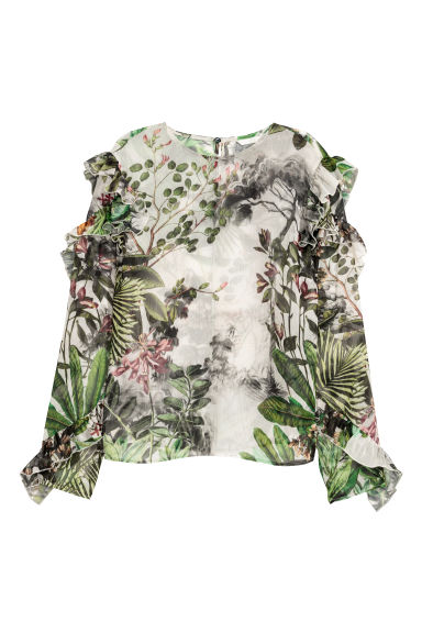 Flounced blouse - White/Patterned - Ladies | H&M CN