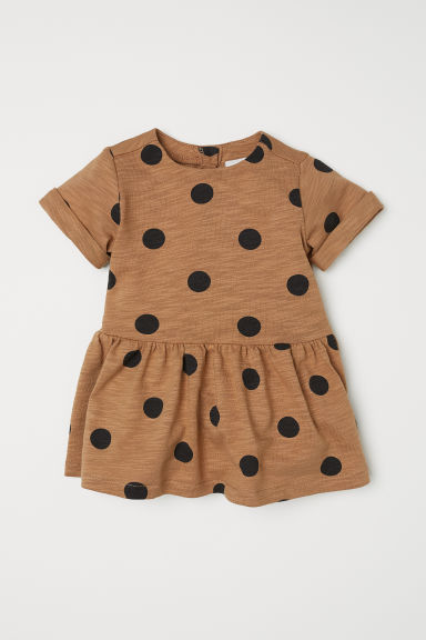 Slub jersey dress - Dark beige/Spotted - Kids | H&M