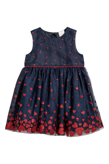 Glittery dress - Dark blue/Hearts -  | H&M CN