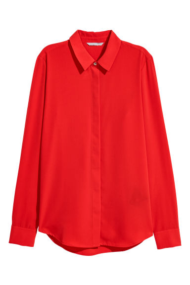 Long-sleeved blouse - Red - Ladies | H&M CN