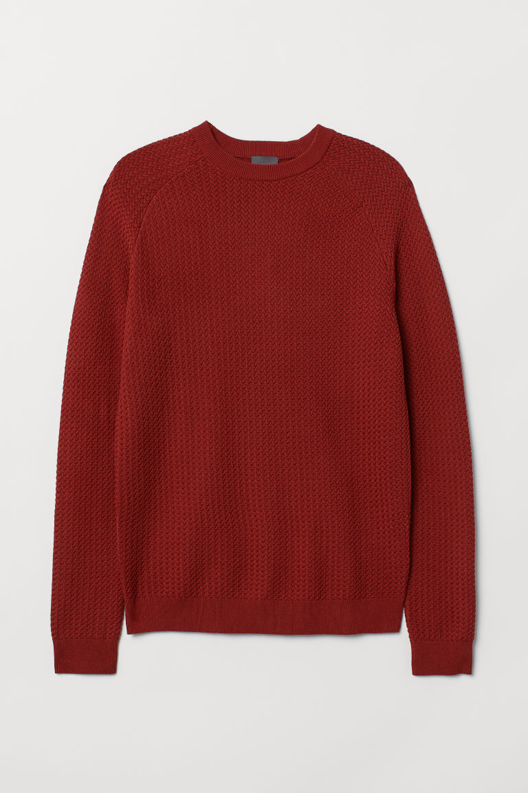 Premium cotton jumper - Rust red - Men | H&M CN